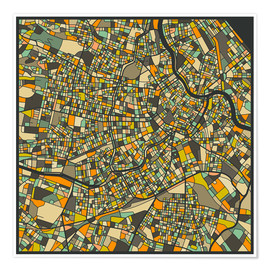 Premium poster  Vienna Map - Jazzberry Blue