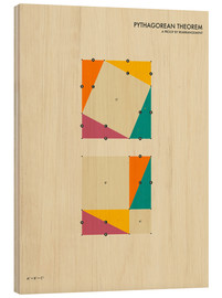 Wood print  Pythagorean theorem - Jazzberry Blue