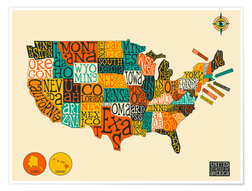 Jazzberry Blue United States Map Poster Posterlounge