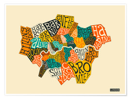Premium poster  London Boroughs - Jazzberry Blue