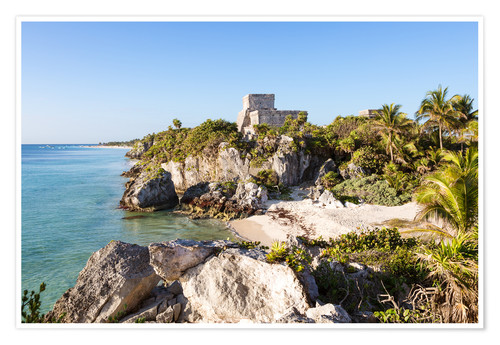 Premium poster Famous maya ruins of Tulum on the caribbean sea, Mexico
