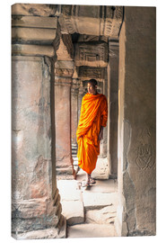 Canvas print  Monk walking inside Agkor Wat temple, Cambodia - Matteo Colombo
