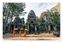Premium poster Monks with umbrellas inside Angkor Wat temples, Cambodia
