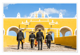 Premium poster  Mariachi band with sombreros in an old monastery, Mexico - Matteo Colombo