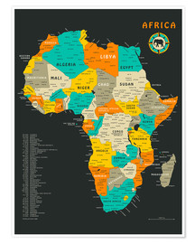 Poster  Africa Map - Jazzberry Blue