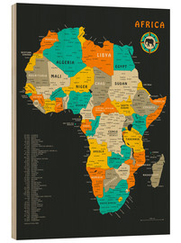 Wood print  Africa Map - Jazzberry Blue