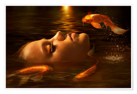 Premium poster  Golden fishes - Elena Dudina