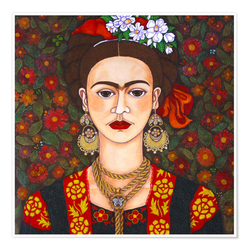 Poster Frida with butterflies
