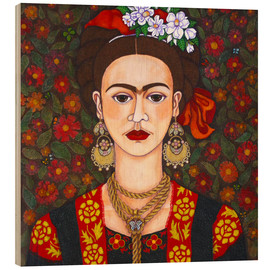 Wood print  Frida with butterflies - Madalena Lobao-Tello