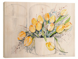 Wood print  Tulips by the window - Maria Földy