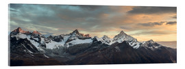 Acrylic print  Panorama from Gornergrat at sunrise  Obergabelhorn, Zinalrothorn, Weisshorn and Bietschorn mountain - Peter Wey