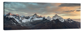 Canvas print  Panorama from Gornergrat at sunrise  Obergabelhorn, Zinalrothorn, Weisshorn and Bietschorn mountain - Peter Wey