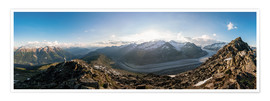 Premium poster 360 degree panorama from Bettmerhorn with Aletsch Glacier, Valais, Switzer