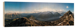 Wood print  360 degree panorama from Bettmerhorn with Aletsch Glacier, Valais, Switzer - Peter Wey