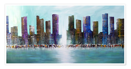 Premium poster Blue Skyline City