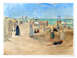 Poster  On the beach in Noordwijk - Max Liebermann