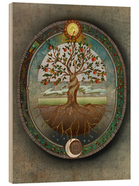 Wood print  Orobouros - Tree of life - Brenda Erickson