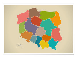 Premium poster  Modern Map of Poland Artwork Design - Ingo Menhard