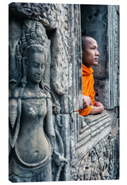 Canvas print  Buddhist monk inside a temple, Angkor, Cambodia - Matteo Colombo