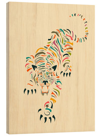 Wood print  Tiger - Jazzberry Blue