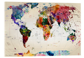 Acrylic glass  Map of the world - Mark Ashkenazi