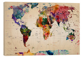 Wood print  Map of the world - Mark Ashkenazi