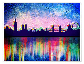 Premium poster  London in blue - Mark Ashkenazi