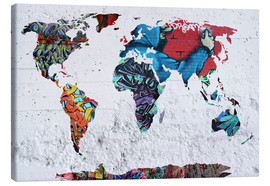 Canvas print  map graffiti - Mark Ashkenazi