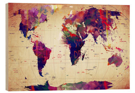 Wood print  Map of the world vintage - Mark Ashkenazi