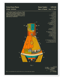 Poster  Space Capsule Patent (1963) - Jazzberry Blue