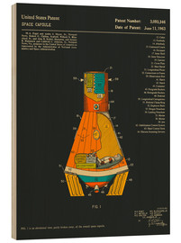 Wood print  Space Capsule Patent (1963) - Jazzberry Blue