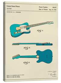 Canvas print  Guitar Patent (1951) - Jazzberry Blue