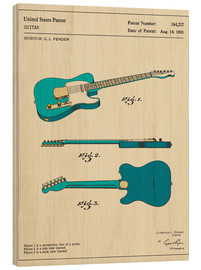 Wood print  Guitar Patent (1951) - Jazzberry Blue