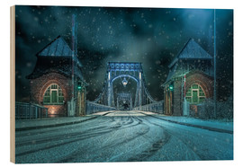 Wood print  Kaiser Wilhelm Bridge Wilhelmshaven in winter at night - Rainer Ganske
