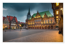 Premium poster  Bremen Market Square with City Hall - Rainer Ganske