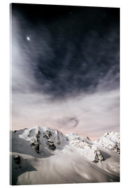 Acrylic print  Piz Palu in moonlight, view from Diavolezza, Engadin, Switzerland - Peter Wey