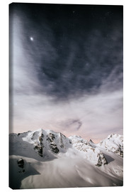 Canvas print  Piz Palu in moonlight, view from Diavolezza, Engadin, Switzerland - Peter Wey