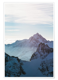 Premium poster Fleckistock mountain peak above cloudscape  View from Titils mountain peak, Lucerne, Switzerland