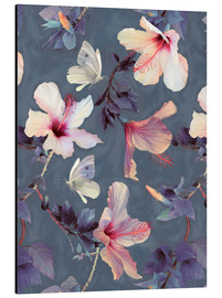 Aluminium print  Butterflies and Hibiscus Flowers - a painted pattern - Micklyn Le Feuvre