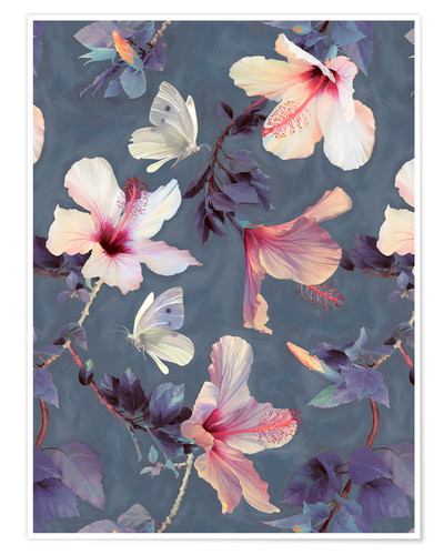 Poster Butterflies and Hibiscus Flowers - a painted pattern