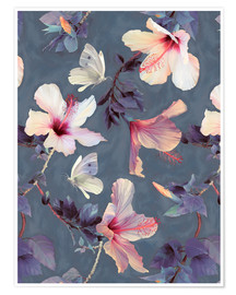 Premium poster Butterflies and Hibiscus Flowers - a painted pattern