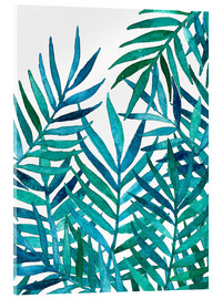 Acrylic glass  Watercolor Palm Leaves on White - Micklyn Le Feuvre