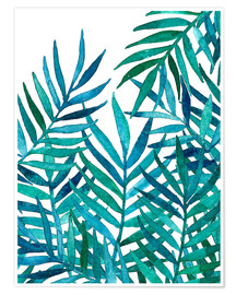 Poster Watercolor Palm Leaves on White
