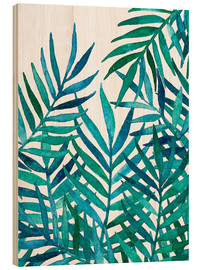 Wood print  Watercolor Palm Leaves on White - Micklyn Le Feuvre