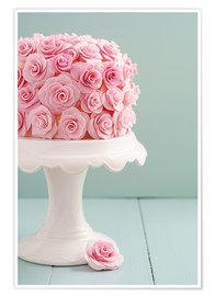 Premium poster Cake with roses made of sugar