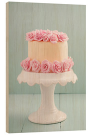 Wood print  Cake with roses made of sugar - Elisabeth Cölfen