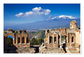 Premium poster  Greek theater in Taormina, Sicily - Circumnavigation