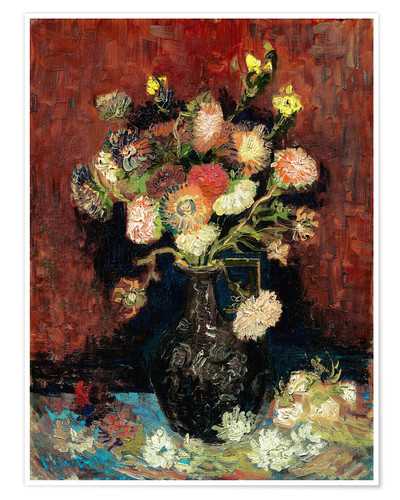 Premium poster Vase with Chinese Asters and Gladioli