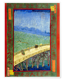 Premium poster The bridge in the Rrain (after Hiroshige)
