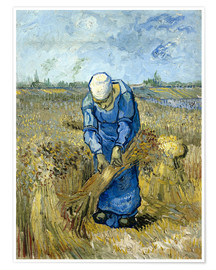 Premium poster Peasant woman binding sheaves
